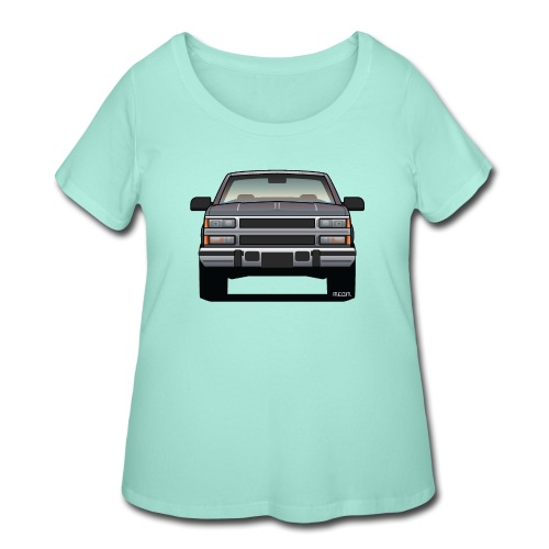 Design Icon: American Bowtie Silver Urban Truck - Women's Curvy T-Shirt