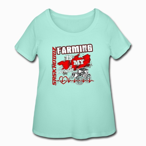 saskhoodz farming - Women's Curvy T-Shirt