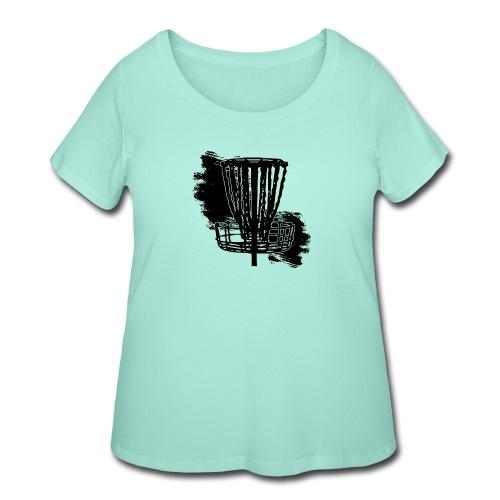 Disc Golf Basket Paint Black Print - Women's Curvy T-Shirt