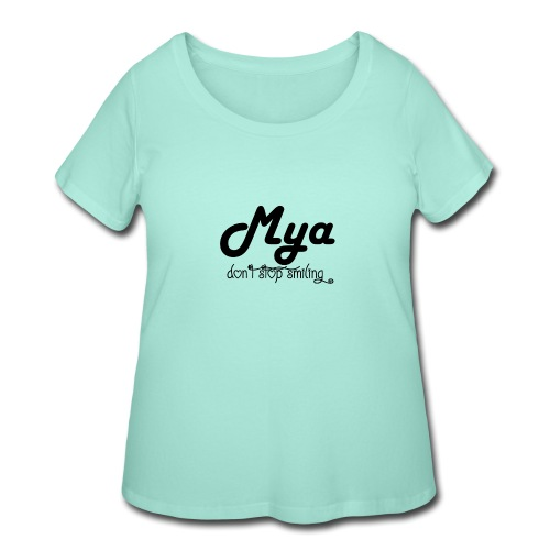 Mya, Dont Stop Smiling (Black) - Women's Curvy T-Shirt