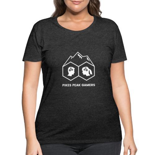 Pikes Peak Gamers Logo (Transparent White) - Women's Curvy T-Shirt