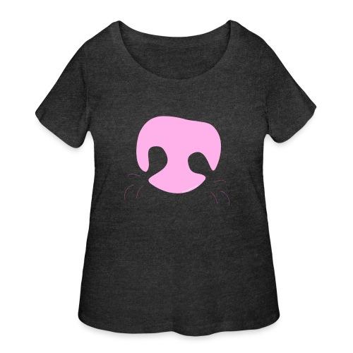 Pink Whimsical Dog Nose - Women's Curvy T-Shirt