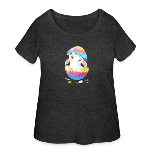 Easter Bunny in Egg, Easter egg hatches bunny - Women's Curvy T-Shirt