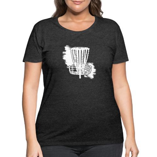Disc Golf Basket White Print - Women's Curvy T-Shirt
