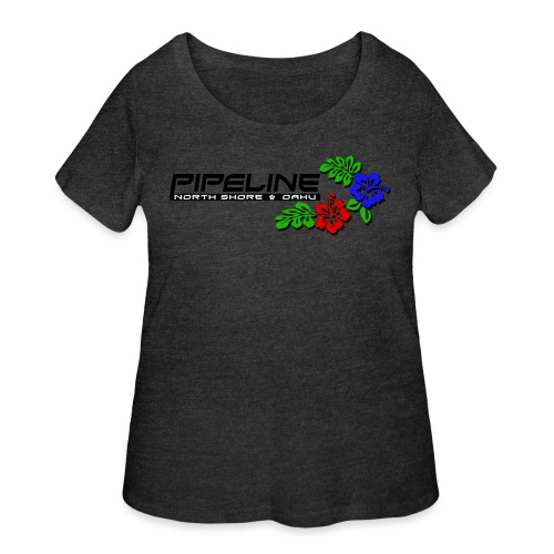 Pipeline North Shore w/ Colorful Hibiscus Flowers - Women's Curvy T-Shirt