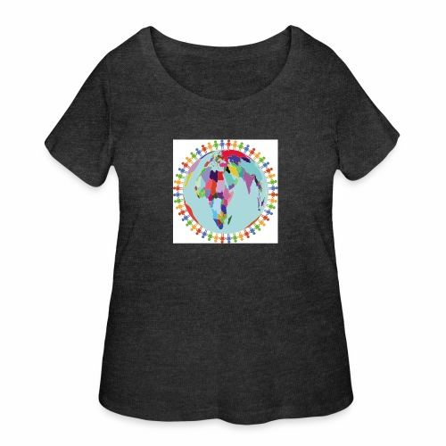 Community Group/Earth Globe/Earth Day/ Human Frame - Women's Curvy T-Shirt