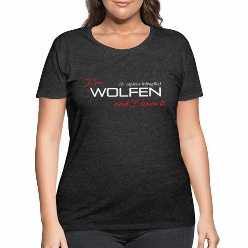 Front/Back: Wolfen Atitude on Dark - Adapt or Die - Women's Curvy T-Shirt
