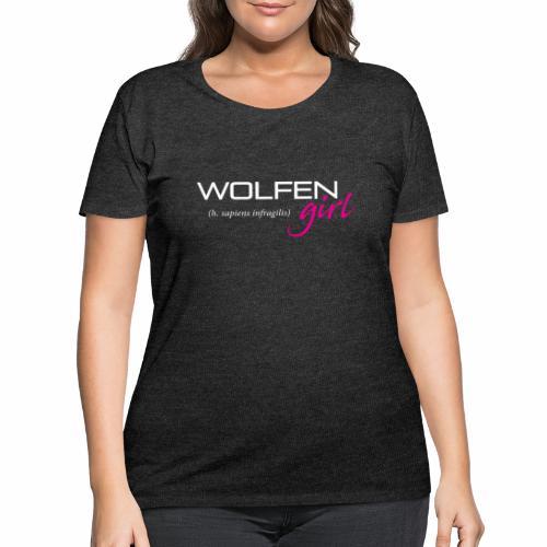 Front/Back: Wolfen Girl on Dark - Adapt or Die - Women's Curvy T-Shirt