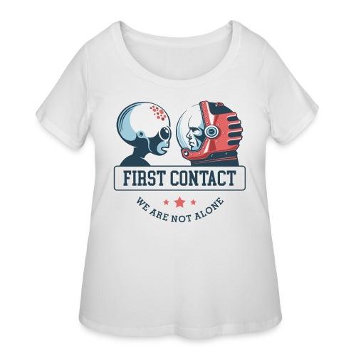 alien astronaut first contact - Women's Curvy T-Shirt