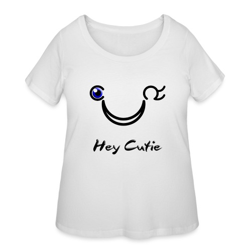 Hey Cutie Blue Eye Wink - Women's Curvy T-Shirt