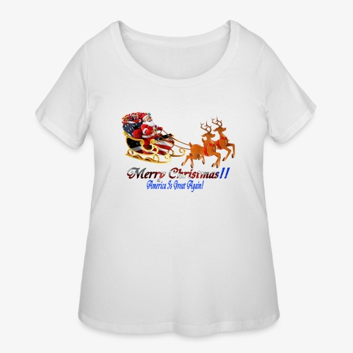 Merry Christmas-America - Women's Curvy T-Shirt