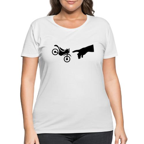 The hand of god brakes a motorcycle as an allegory - Women's Curvy T-Shirt