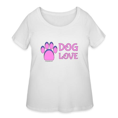 Pink Dog paw print Dog Love - Women's Curvy T-Shirt