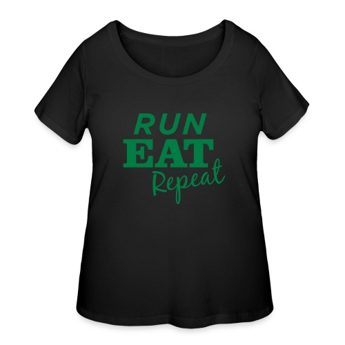 Run Eat Repeat buttons medium - Women's Curvy T-Shirt