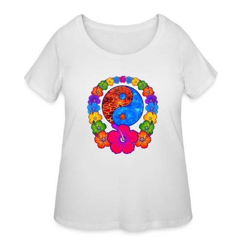 Lava and Water Yin Yang with Hibiscus Flowers - Women's Curvy T-Shirt