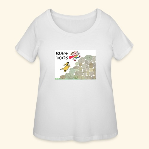 Dog chasing kid - Women's Curvy T-Shirt