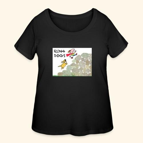 Dog chasing kid - Women's Curvy T-Shirt