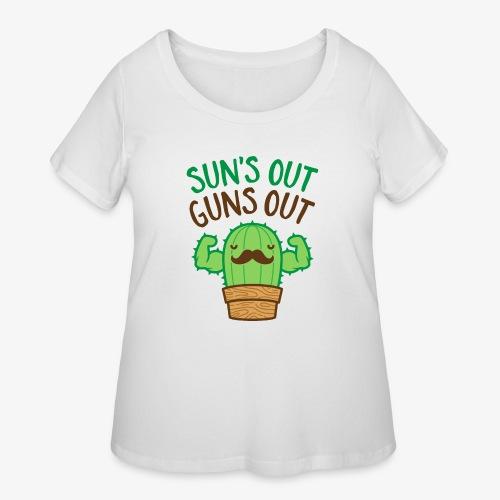 Sun's Out Guns Out Macho Cactus - Women's Curvy T-Shirt