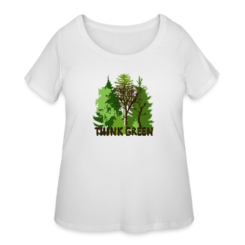 EARTHDAYCONTEST Earth Day Think Green forest trees - Women's Curvy T-Shirt