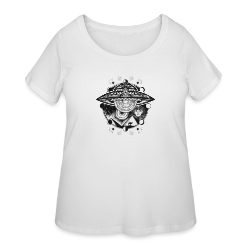 Egyptian Pharaoh Pyramid Alien UFO - Women's Curvy T-Shirt