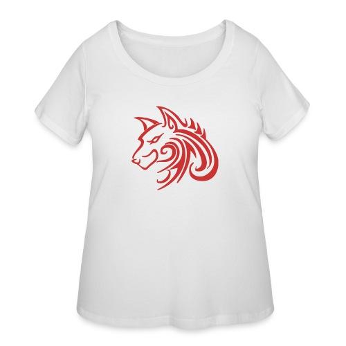 3d31c4ec40ea67a81bf38dcb3d4eeef4 wolf 1 red wolf c - Women's Curvy T-Shirt