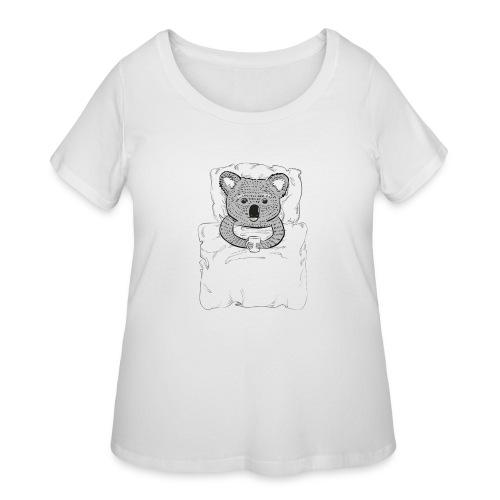 Print With Koala Lying In A Bed - Women's Curvy T-Shirt