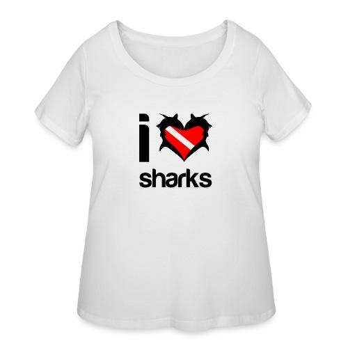 I Love Sharks - Women's Curvy T-Shirt