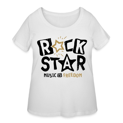 rock star music freedom - Women's Curvy T-Shirt