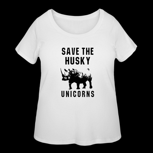 Save the Husky Unicorns | Funny Rhino - Women's Curvy T-Shirt