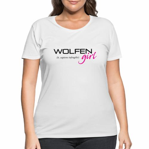 Front/Back: Wolfen Girl on Light - Adapt or Die - Women's Curvy T-Shirt