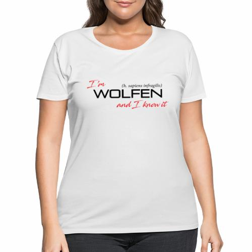 Front/Back: Wolfen Attitude on Light- Adapt or Die - Women's Curvy T-Shirt