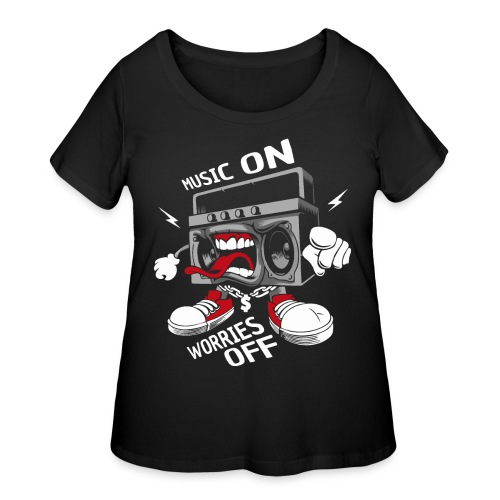music on worries off - Women's Curvy T-Shirt