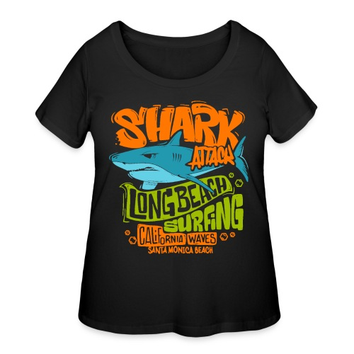 shark surf surfing california - Women's Curvy T-Shirt