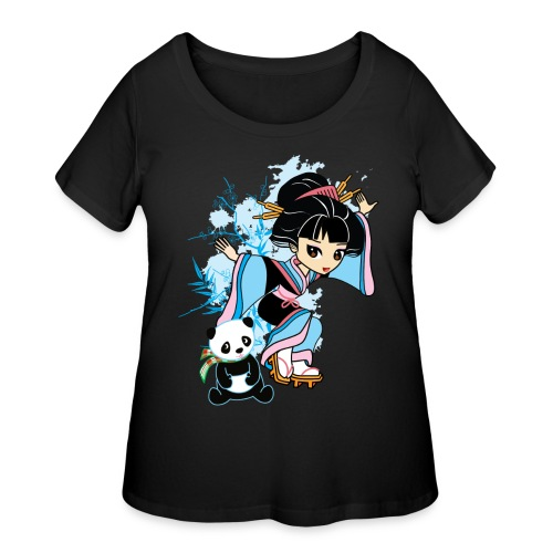 Cartoon Kawaii Geisha Panda Ladies T-shirt by - Women's Curvy T-Shirt