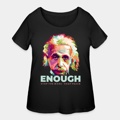 einstein peace war - Women's Curvy T-Shirt