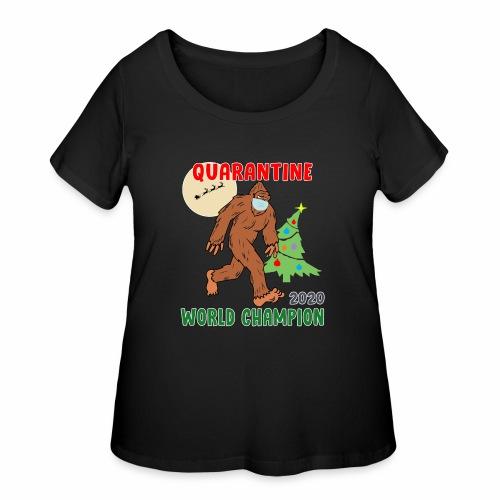 Quarantine World Champion Sasquatch Mask Christmas - Women's Curvy T-Shirt