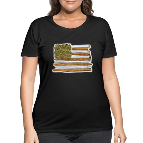 American Flag With Joint - Women's Curvy T-Shirt