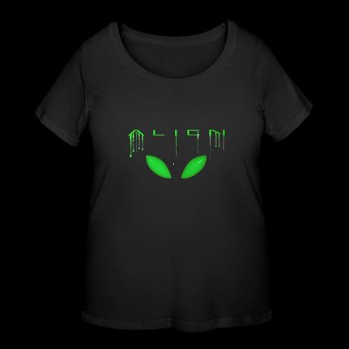 Alien Dribble with ET eyes - Green - Women's Curvy T-Shirt