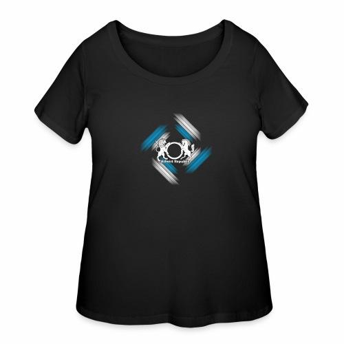Atheist Republic Logo - Blue & White Stripes - Women's Curvy T-Shirt