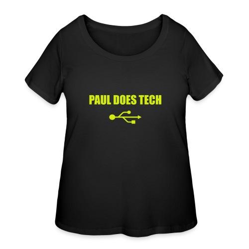Paul Does Tech Yellow Logo With USB (MERCH) - Women's Curvy T-Shirt