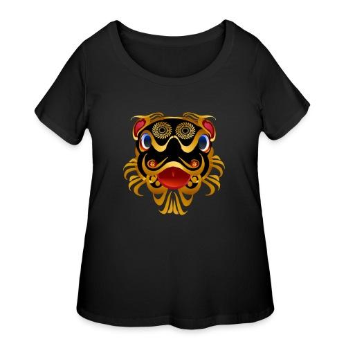 Black 'n Gold Chinese Dragon Face - Women's Curvy T-Shirt