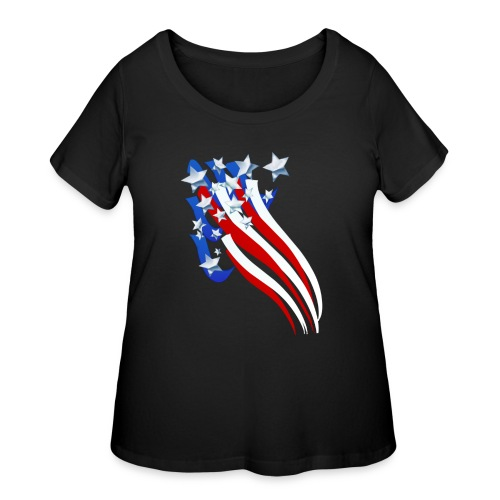 Sweeping Old Glory - Women's Curvy T-Shirt