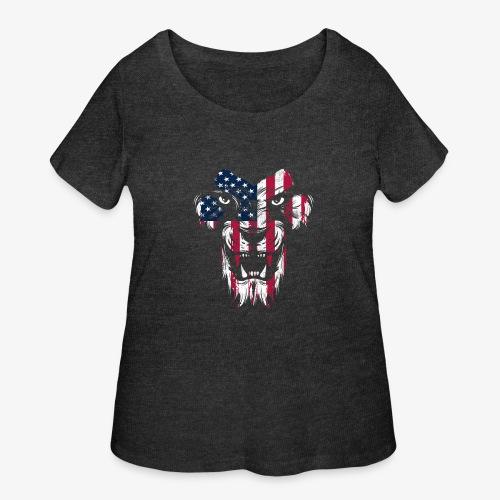 American Flag Lion - Women's Curvy T-Shirt