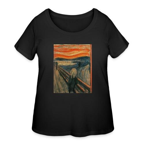 The Scream (Textured) by Edvard Munch - Women's Curvy T-Shirt