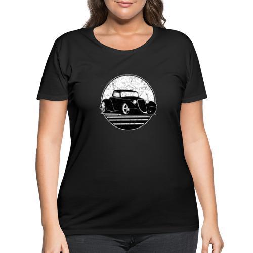 Retro Hot Rod Grungy Sunset Illustration - Women's Curvy T-Shirt