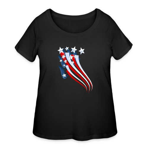 Sweeping American Flag - Women's Curvy T-Shirt