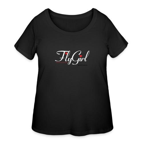 FlyGirlTextWhite W Black png - Women's Curvy T-Shirt