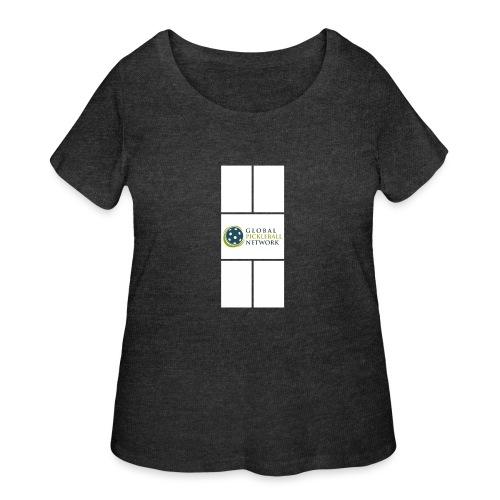 Global Pickleball Network Logo on White Court - Women's Curvy T-Shirt