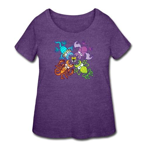 Bat, lizard, scorpion and frog stalking a poor fly - Women's Curvy T-Shirt