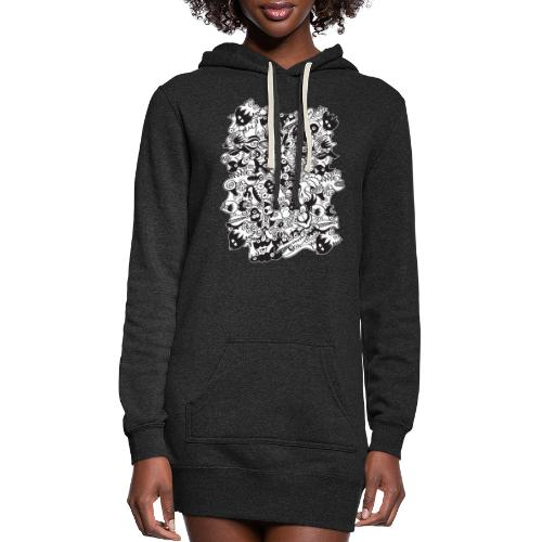 Black and white scary monsters in doodle art style - Women's Hoodie Dress